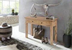 Wohnling Konsolentisch MUMBAI Massivholz Akazie Konsole mit 2 Schubladen Schreibtisch 110 x 40 cm Landhaus-Stil Sideboard