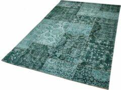 Donkerblauwe Flycarpets Patchwork Modern Vloerkleed Kleur: Turquoise - Afmeting: 120x170 cm