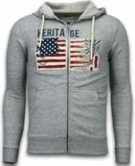 Enos Casual Vest - Embroidery American Heritage - Grijs - Maat: M