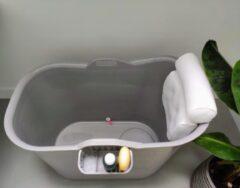 FlinQ Bath Bucket Grijs Met Hoofdkussen - Zitbad & Nekkussen - Grijs - Bath Bucket - Badkuip