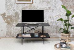 LIFA LIVING Moderne Bijzettafel, Zwarte Koffietafel, Hout en Metalen Salontafels, Industrieel TV Meubel voor Woonkamer, Slaapkamer, 87 x 50 x 46 cm