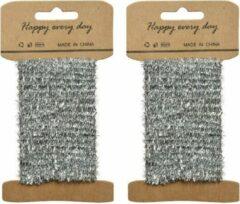 Decoris 2x Zilver lametta lint ijzerdraad op rol 200 cm - Hobby ijzerdraad zilver