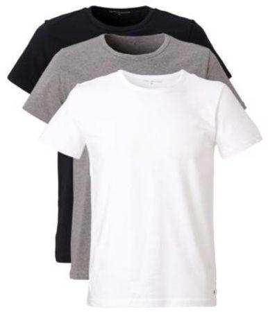 Afbeelding van Grijze Tommy Hilfiger 3-Pack T-shirts Crew-Neck Premium Essentials Wit, Grijs, Zwart