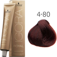 Schwarzkopf Igora Absolutes Permanent Anti-Age Color Cream - Kleur: 4-80 Middelbruin Rood Natuur
