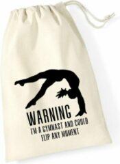 Gebroken-witte Sparkle&Dream Leertjes/Lusjes Tasje 'Warning Gymnast', voor turnen en gymnastiek