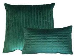 Kussoo Sierkussen Fluweel Donkergroen 30x50 en 50x50 cm