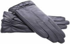 IMoshion Zwarte echt lederen touchscreen handschoenen met sierlijk stikwerk en strik - Maat M