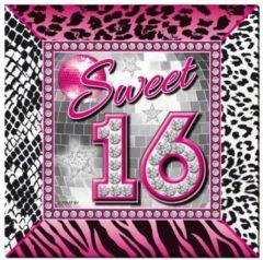 Folat 40x stuks Sweet 16 Sixteen servetten tafel versiering feestartikelen