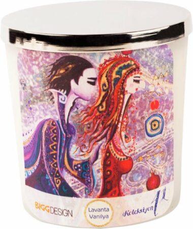 Afbeelding van Transparante BiggDesign Liefde, Medium formaat Kaars, Speciaal ontwerp ,Vanille en Lavendel Geur