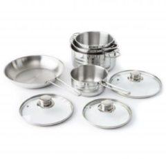 Zilveren Imperial Kitchen Kookset 5 delig recht satin streep RVS