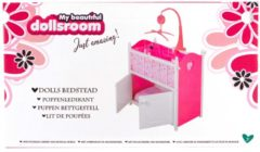My Beautiful Dolls Room My Beautiful Dollsroom Houten Poppen-Ledikant met Muziek Roze/Wit