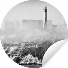 WallCircle Mist over Alcatraz in zwart-wit Wandcirkel behangsticker ⌀ 140 cm / behangcirkel / muurcirkel / wooncirkel - zelfklevend & rond uitgesneden