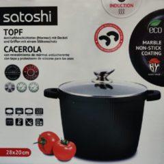 Zwarte Satoshi Lyon - Kookpan afneembare siliconen handgrepen - 4.5L - 28x20cm - oven en inductie