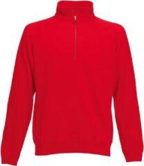 Zwarte Fruit of the Loom Rode fleece sweater/trui met rits kraag voor heren/volwassenen - Katoenen/polyester sweaters/truien L (EU 52)