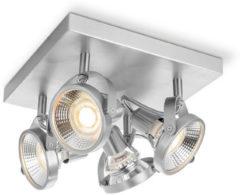 Zilveren LIght Depot - LED Opbouwspot Yaya - 4 Lichts - ↔ 23 cm - Mat Staal