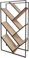 Bruine Gebor Bijzondere Wandkast – Boekenkast – Wijnkast – Industrieel – Stoer – Bijzonder Design – Naturel – Zwart – 80x30x160cm