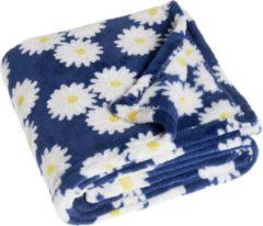 Playshoes - Fleece-Decke Margerite - Dekenmodel maat 75x100 cm, blauw/grijs
