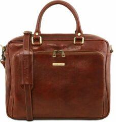 Donkerbruine Tuscany Leather - Leren 2-vaks aktetas 'Pisa' - Bruin - TL141660