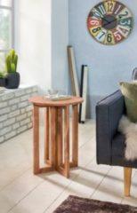 Wohnling Beistelltisch MUMBAI Massivholz Akazie Design Anstell-Tisch 45 x 45 cm rund Nachttisch Deko Echt-Holz Landhaus-Stil