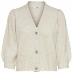 Beige Jacqueline de Yong Gebreid Vest 3/4-mouw