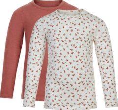 Roze Minymo T-shirt Junior Katoen Gebloemd 2 Stuks Maat 86