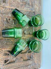 Moroccan Garden Traditioneel Beldi Glas | Groen | Marokkaanse Gerecycled Glas | Set van 6