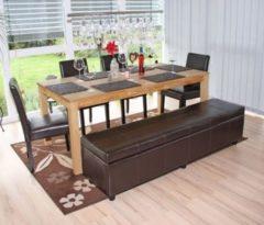 Heute-wohnen Garnitur Sitzgruppe Bank mit Aufbewahrung Kriens XXL+4 Stühle Littau, Leder