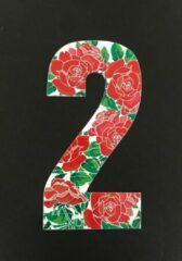 Rode Huisnummer sticker Rozen 2, Rozen sticker nr. 2, huisnummer cijfers - afvalbak nummers- kliko cijfer twee- container nummers- coverart- plakcijfers- rozen huisnummer- brievenbus nummers, CoverArt
