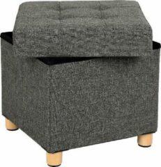 MIRA home MIRA Kruk - Opbergen - Comfortabel - Kubusvormig - Opbergen - Hout - Grijs - 38 x 38 x 40 cm
