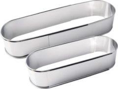Zilveren Merkloos / Sans marque Verstelbare Bakvorm Cakevorm - Ovaal - RVS