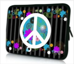Zwarte False Laptophoes 17,3 inch peace - Sleevy - Laptop sleeve - Macbook hoes - beschermhoes