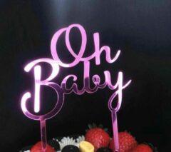 Akyol Oh baby paars cake topper  taart topper baby shower , gender reveal, geboorte