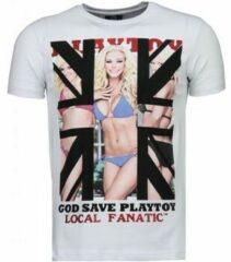 Witte T-shirt Korte Mouw Local Fanatic God Save Playtoy - Rhinestone T-shirt