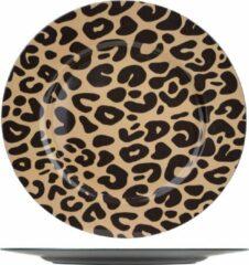 Bellatio Decorations 1x Ronde kaarsenplateaus/kaarsenborden panterprint 33 cm - onderbord / kaarsenbord / onderzet bord voor kaarsen