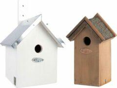 Bellatio Design Voordeelset van 2x stuks houten vogelhuisjes/nestkastjes 31 x 18 cm/22 x 16 cm - Met puntdak in wit en houtkleur
