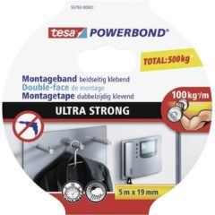 Zwarte Tesa powerbond ultra strong dubbelzijdige montagetape - 5 m x 19 mm.