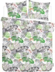 ISeng Leaves - Dekbedovertrek - Eenpersoons - 140x200/220 cm + 1 kussensloop 60x70 cm - Groen