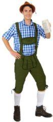 KIMU party outfits Lange lederhosen donkergroen suedine - maat 54-56 L-XL - Oktoberfest imitatie suede driekwarts Tiroler groen heren broek alcantara Tirol lederhose bierfeest festival