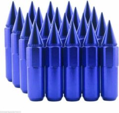 Blauwe Claty Wielmoeren Spikes 90mm – M12x1.5 – 2 delige moeren - Blue