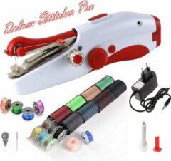 Deluxe Stitcher Pro - PREMIUM Handnaaimachine met Adapter + 20 spoelen met garen en extra Accessoires - Mini naaimachine - Compact - Draadloos - Draagbare Reis Hand Naaimachine - Elektrisch of op Batterijen