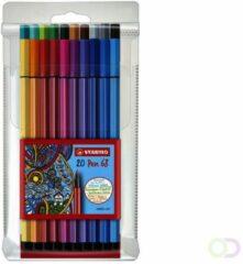 STABILO Pen 68 vezelpuntpen, medium punt, diverse inktkleuren, polypropyleen huls in diverse kleuren (pak 20 stuks)