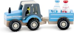 New Classic Toys tractor Little Driver 24 cm hout blauw 4-delig