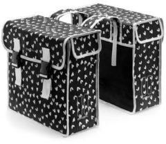 Basil Mara Xl Double Bag - Fietstas - Achterop - Waterafstotend polyester - Heart dots