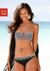 Lascana strapless bandeau bikinitop met all over print zwart/wit/roze