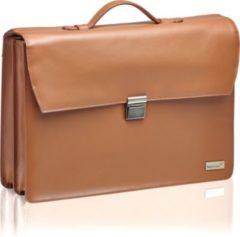 Packenger Ledertasche Aktentasche Bjorn für Laptop bis 17 Zoll aus Leder /2 Hauptfächer / Laptopfach / Reißverschlussfach auf der Rückseite / integrie