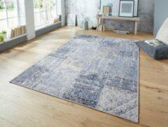 Elle Decor vloerkleden Vlakweef vloerkleed Denain Elle Decor - blauw/zwart 120x170 cm