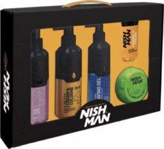 Nish Man Nishman   Giftset   Geschenkset   Cadeauset   5 in Box   Cologne Aftershave Storm   Cream en Cologne Goud   Scheergel   Matte Klei Wax   Volume Poeder