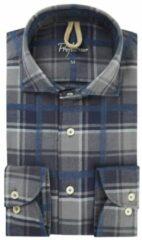 Antraciet-grijze Profuomo Slim fit overhemd van flanel