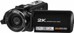 Zwarte LIPA HDV-Z63 2K Sony lens digitale camera Wifi / Met wifi / Aansluiting externe microfoon en statief / 2K resolutie / 24 megapixels / Met Goodram SD-kaart 32 GB / Sony CMOS lens