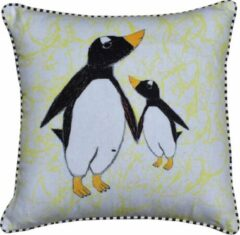 ECO COLLECTION Sierkussen Pinguin Klein/Groot 45x45cm. Handgemaakt & Fairtrade